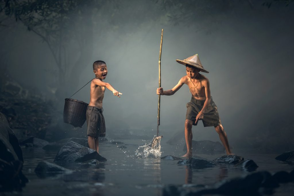 Children are fishing all around the world.